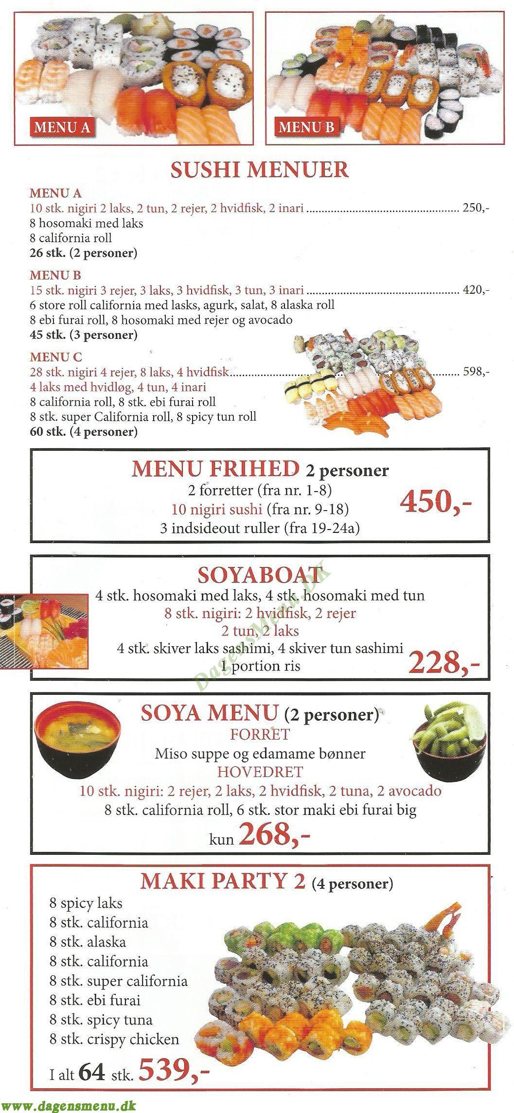 Soya Sushi - Menukort