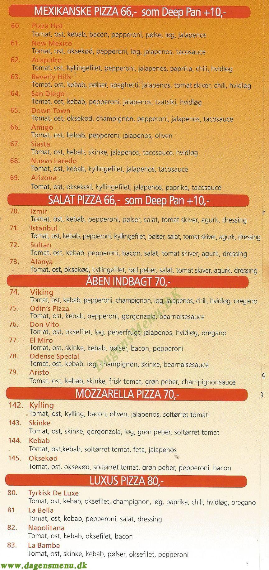 Tornbjerg Pizza, Ring og Bestil Take away i - Menukort