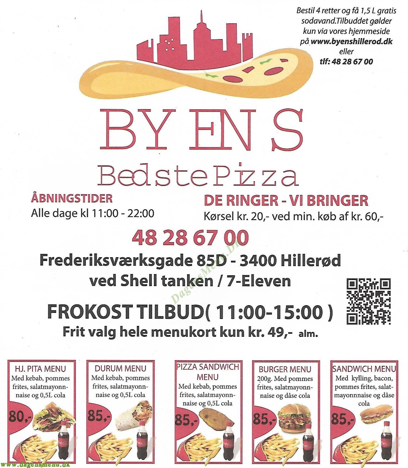 Byens Bedste Pizza - Menukort