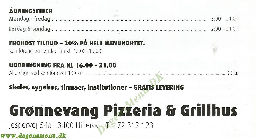 Grønnevang Pizzeria & Grillhus - Menukort