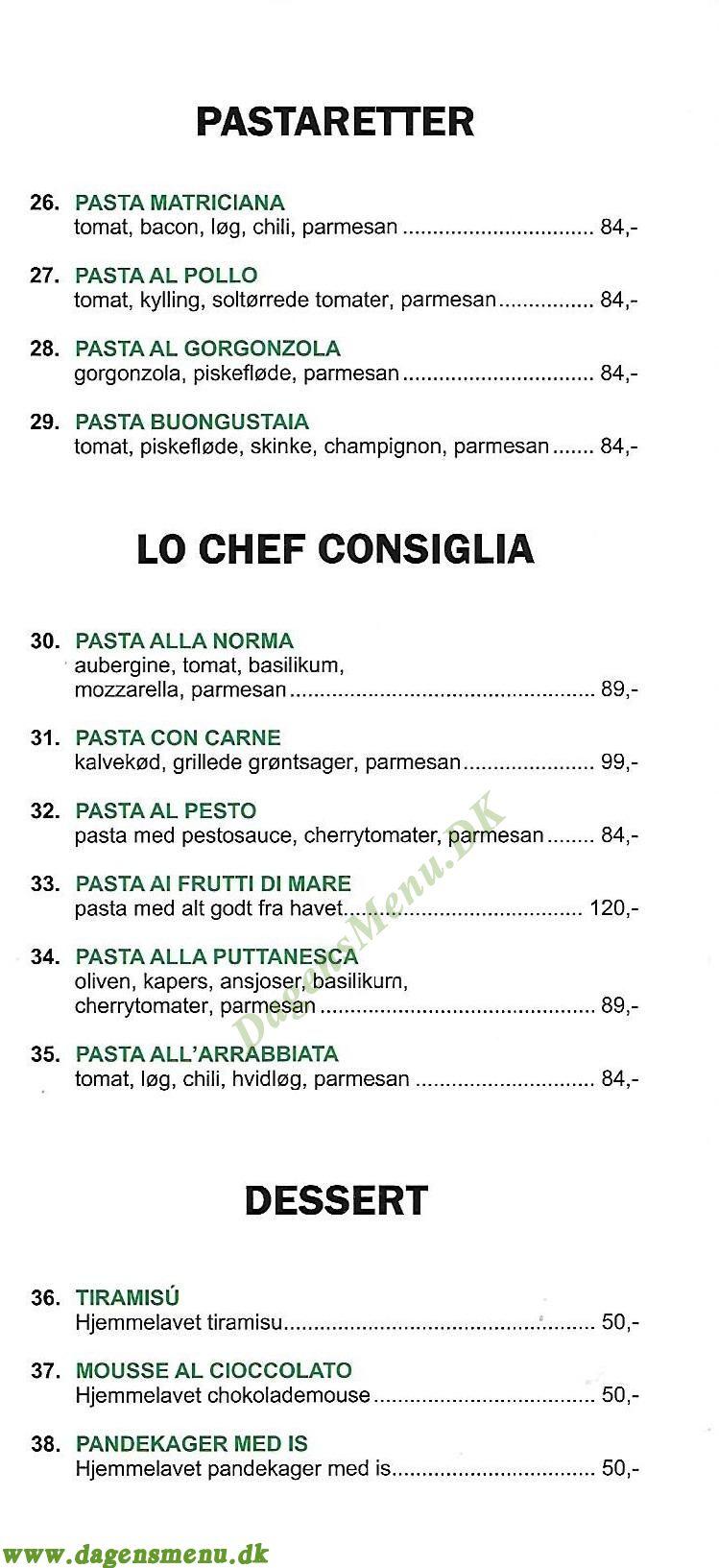 Montalbano Pizza - Menukort