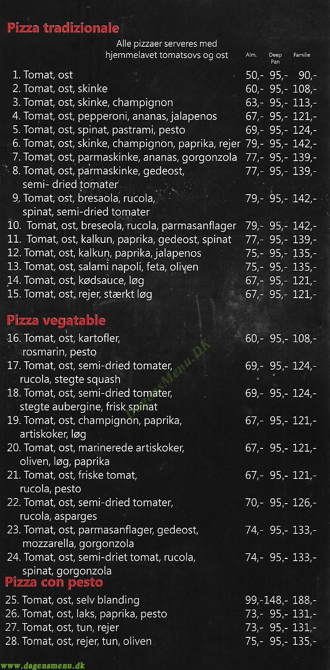 Utterslev Pizzaria - Menukort
