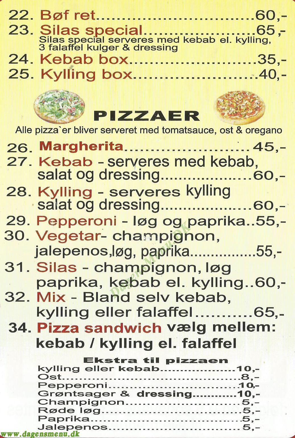 Silas Kebab - Menukort