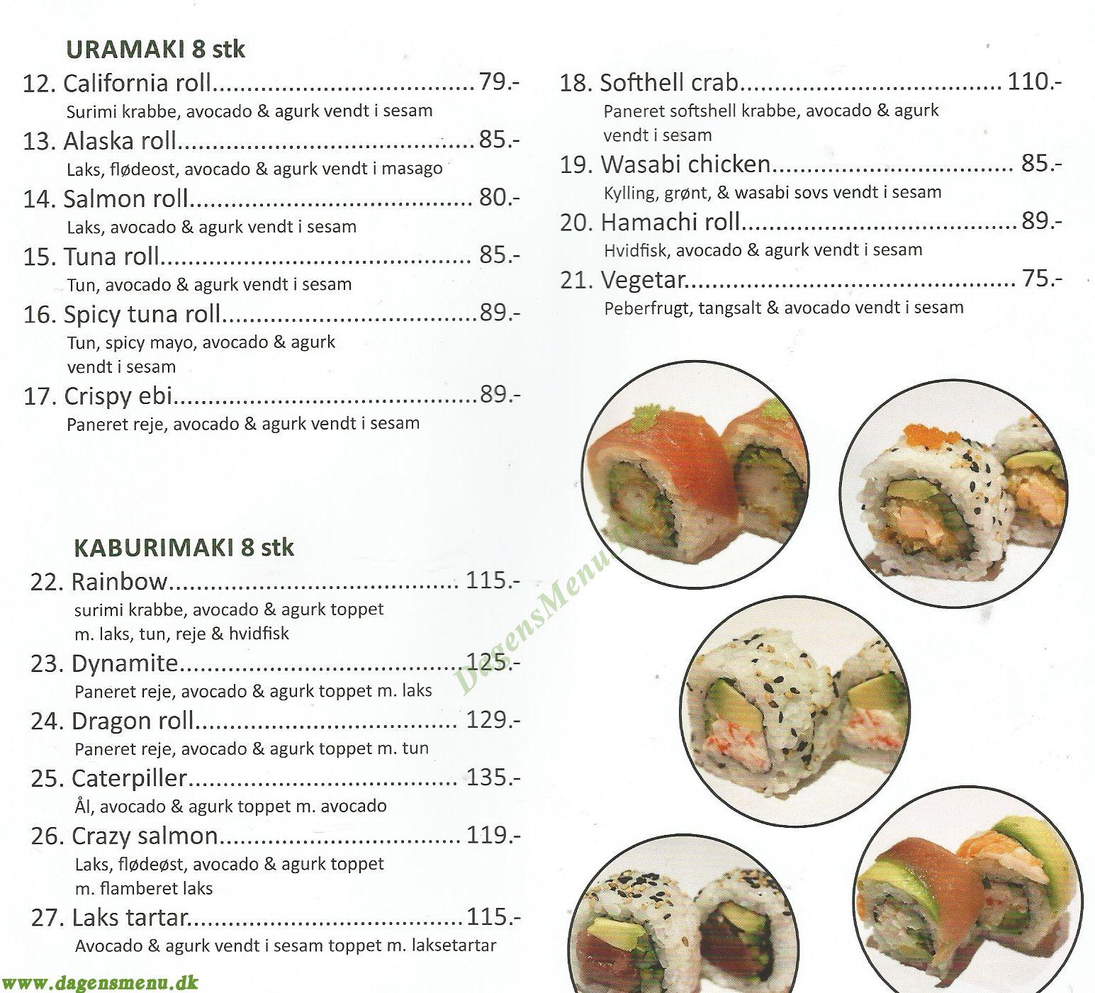 Sushi Naked Fish Amager - Menukort