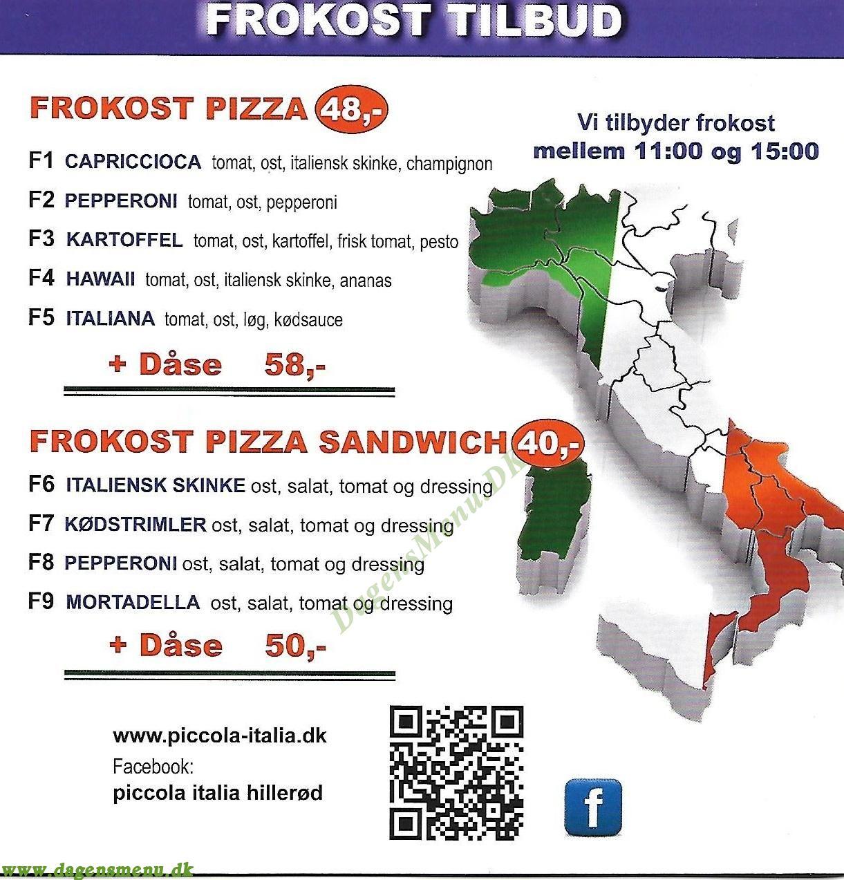 Piccola Italia Pizzaria - Menukort