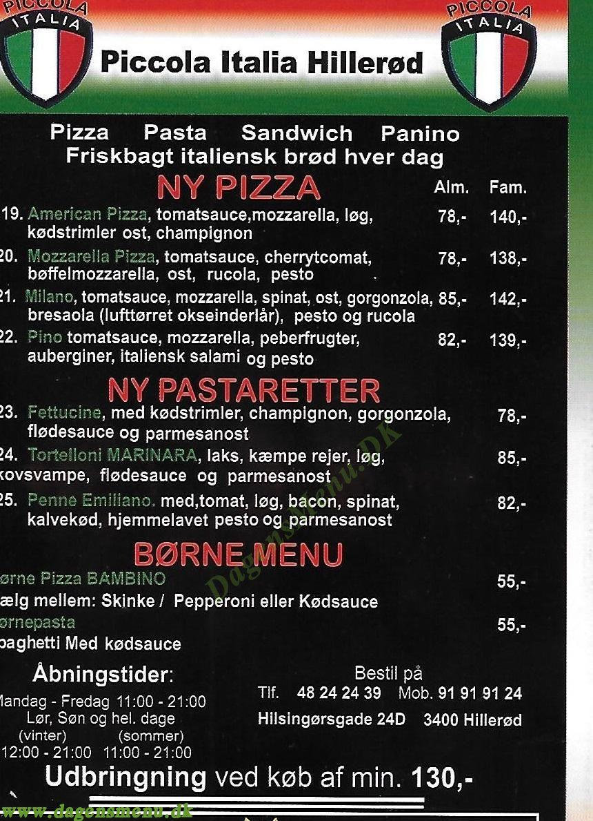 Piccola Italia - Menukort