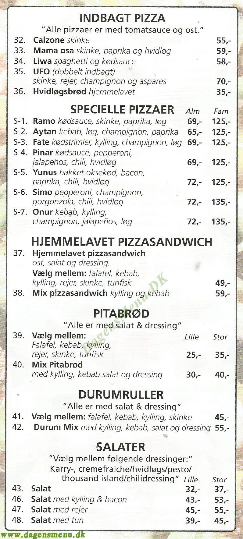 Dados Pizza - Menukort