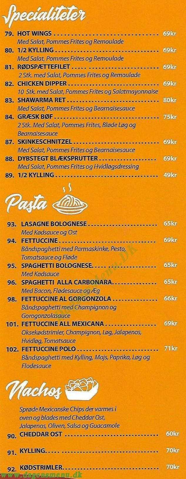 Casa Mia Pizzaria - Menukort