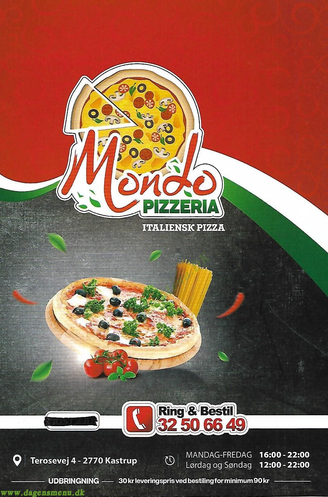 Pizzeria Mondo - Menukort