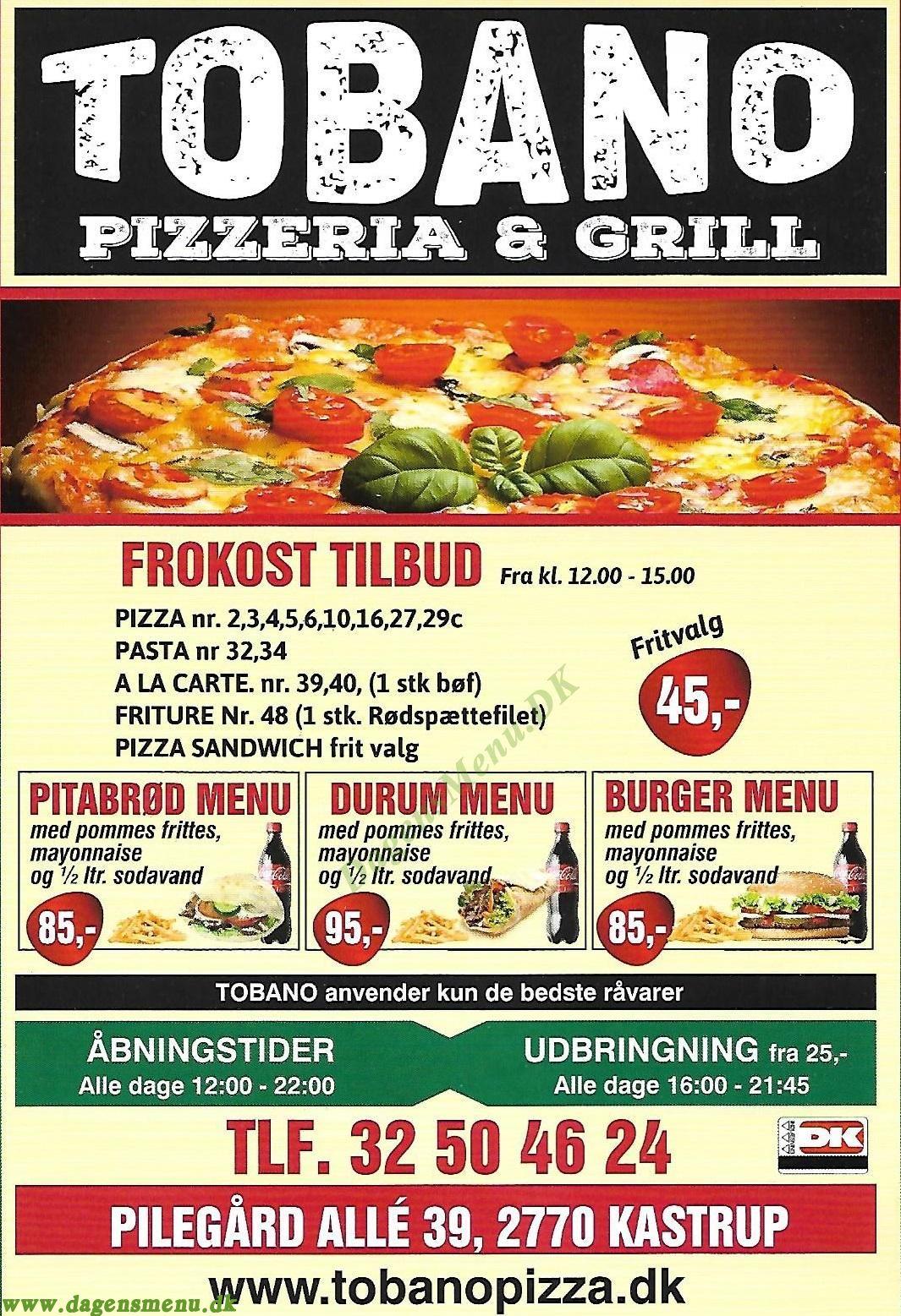 Tobano Pizzeria & Grill - Menukort