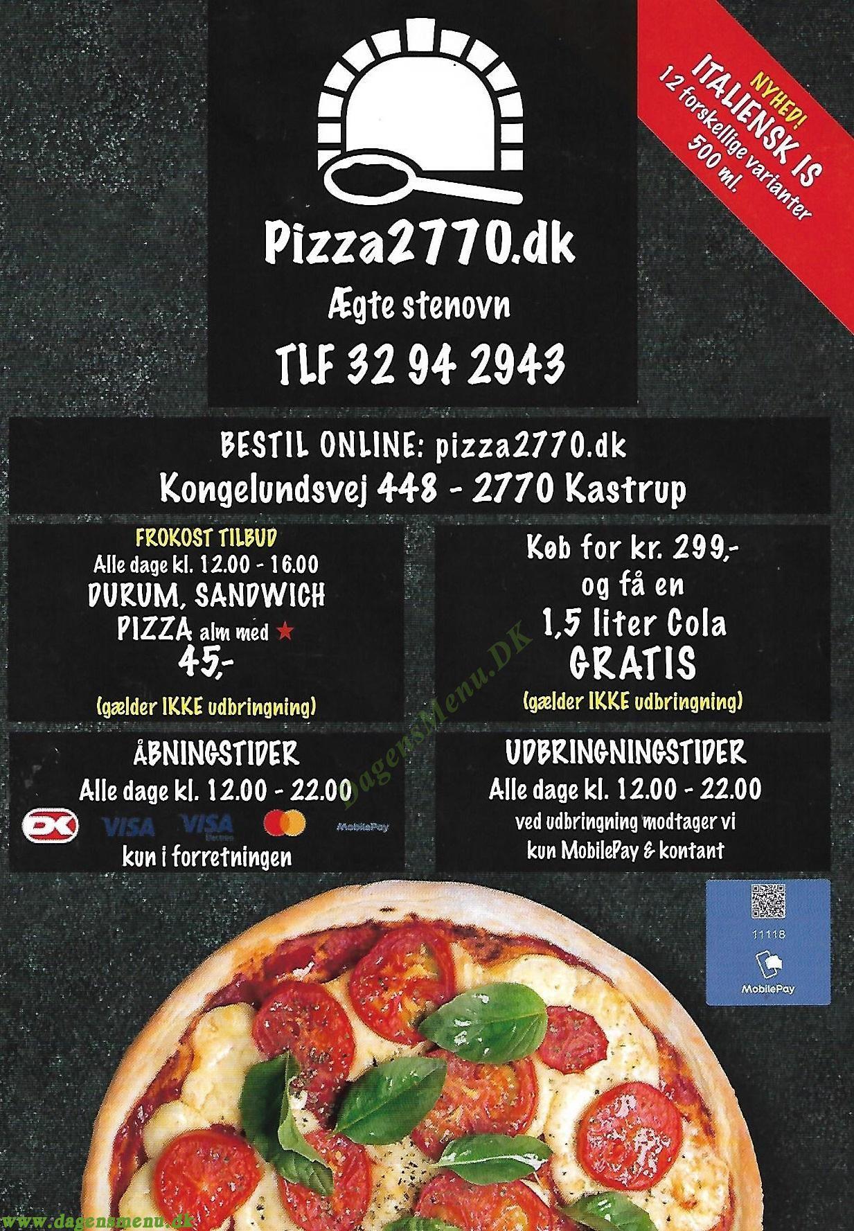 Pizza 2770 - Menukort
