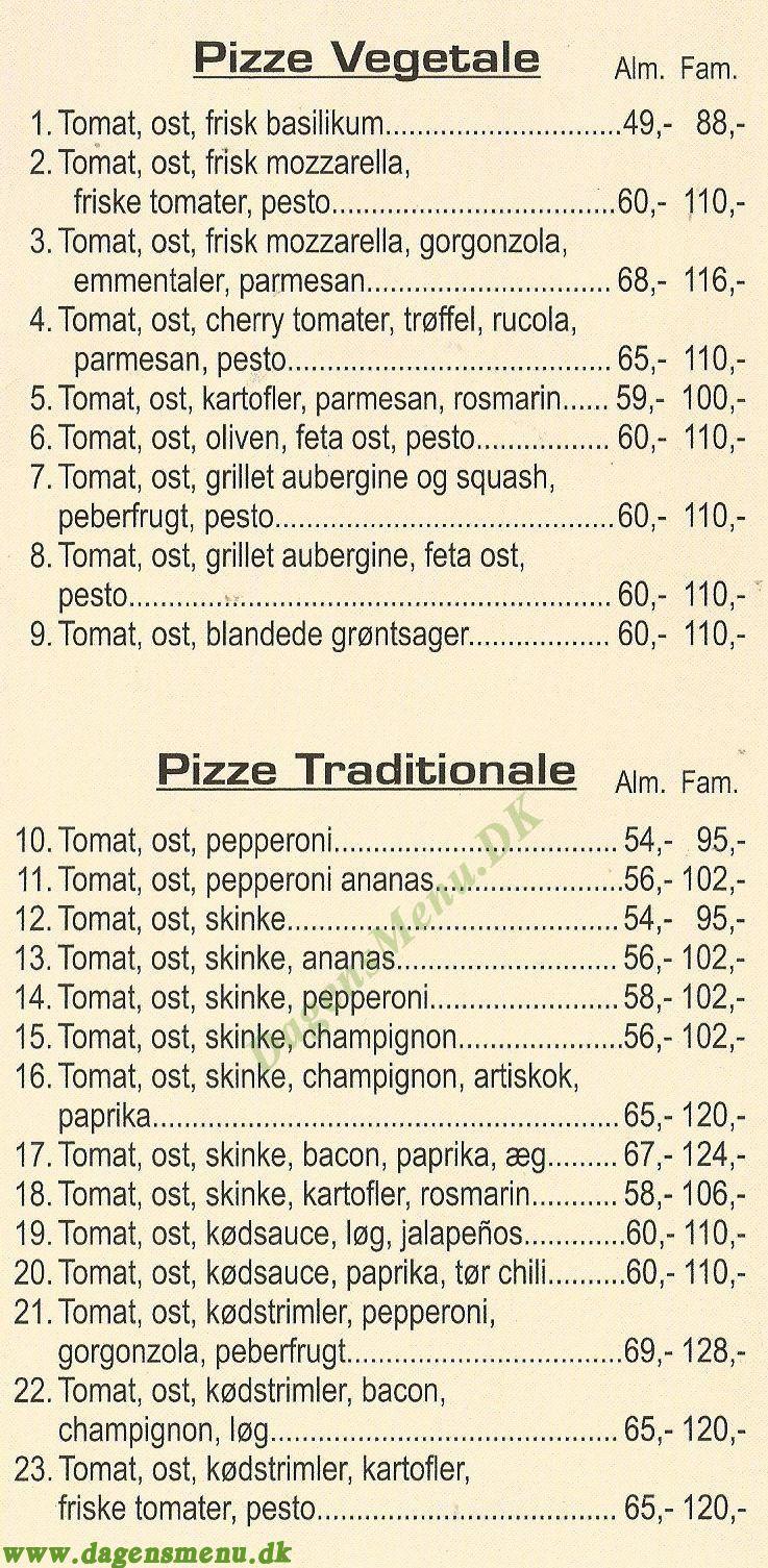 Cavallino Pizzeria - Menukort