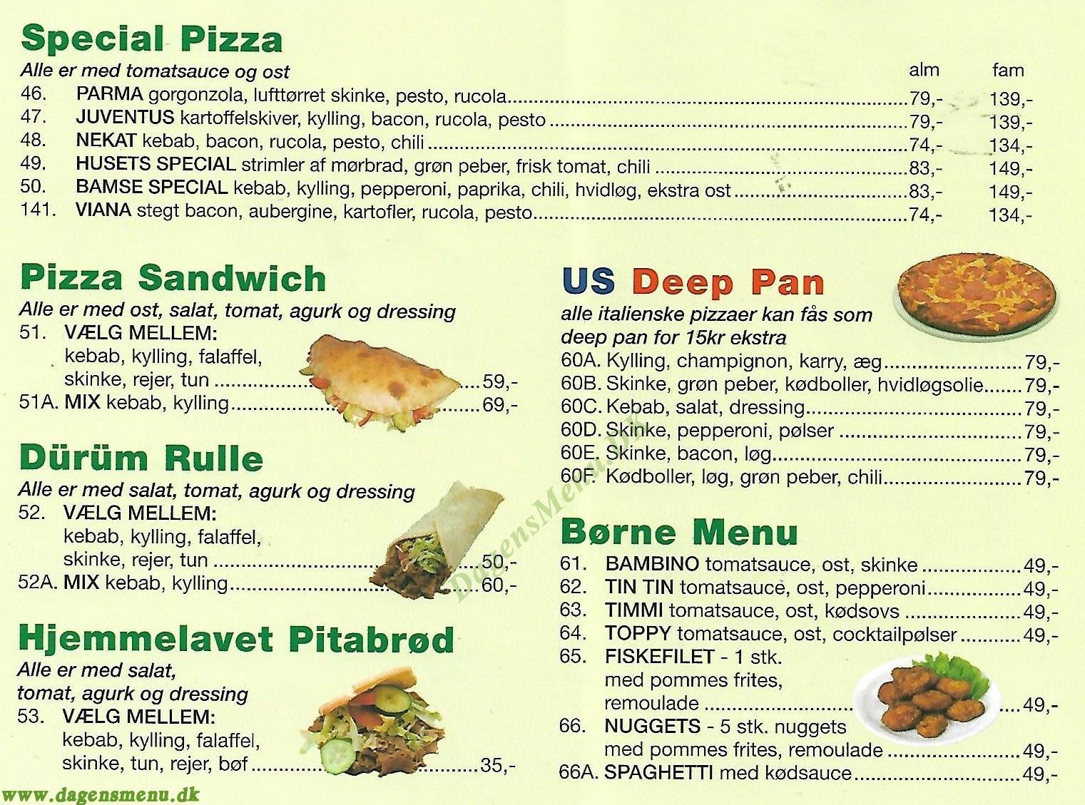 Fasanen Pizza - Menukort