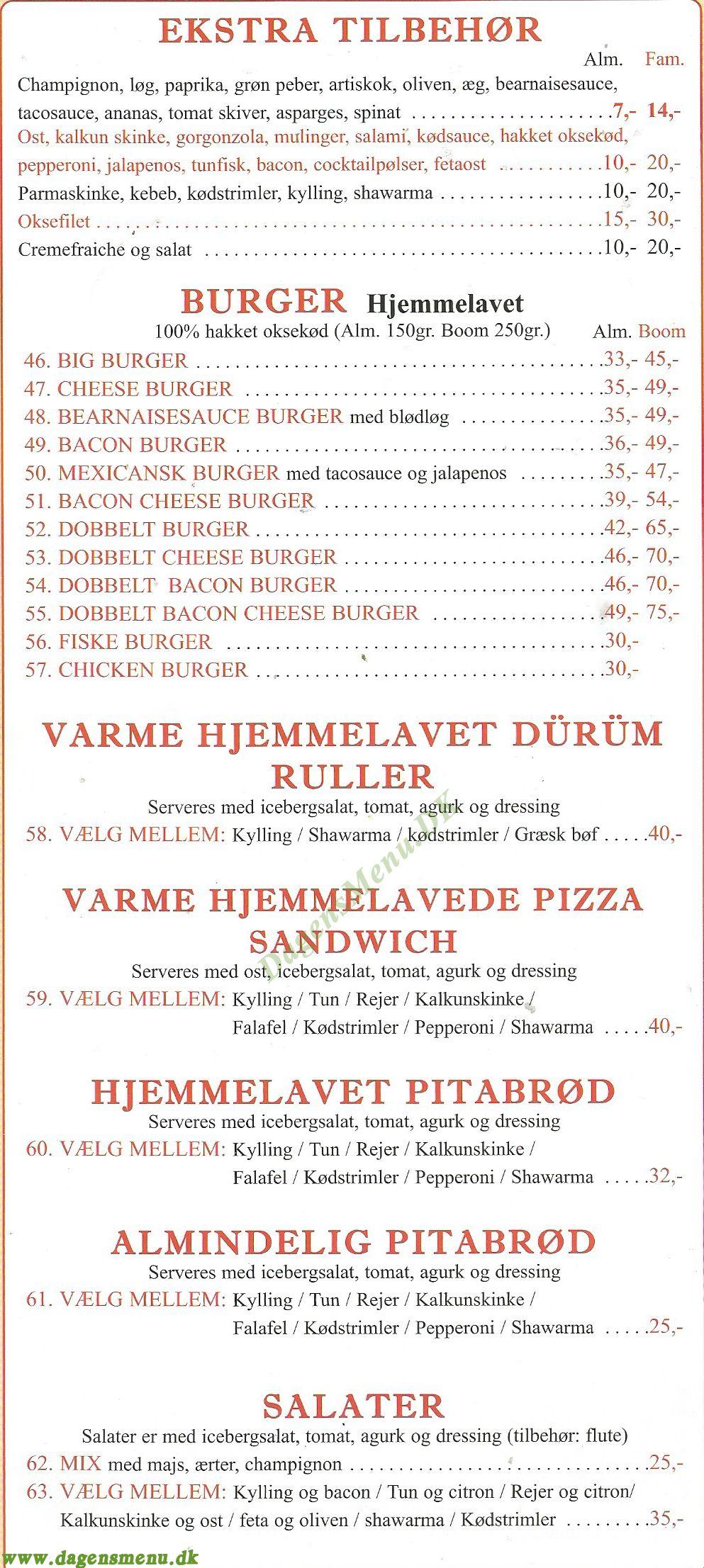 Mix Pizza Grill & Indisk Køkke - Menukort