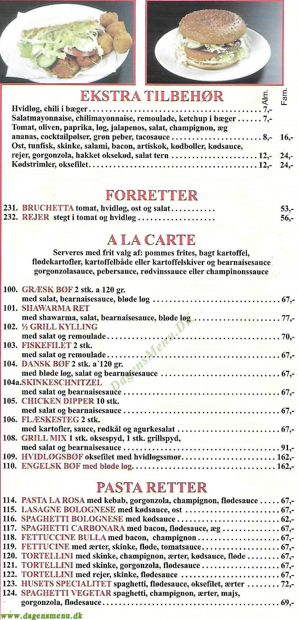 Roberto's Pizzaria - Menukort