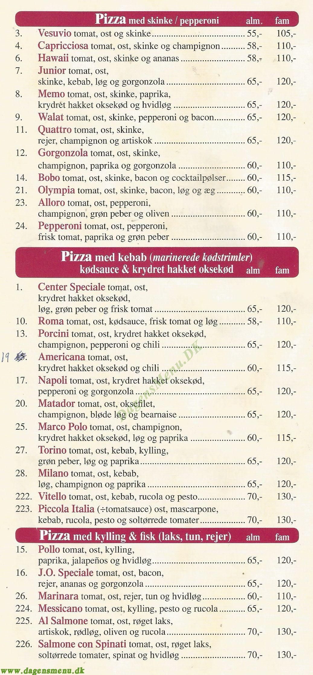 Greve Center Pizza - Menukort