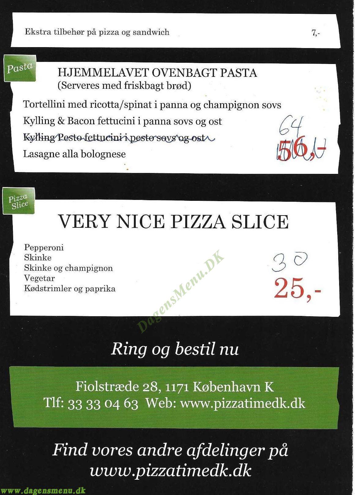 Pizza Time Fiolstræde - Menukort
