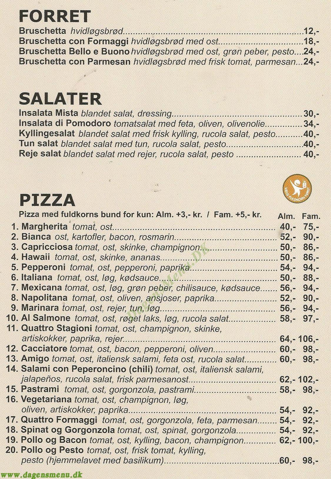 Pizza Bello E Buono - Menukort