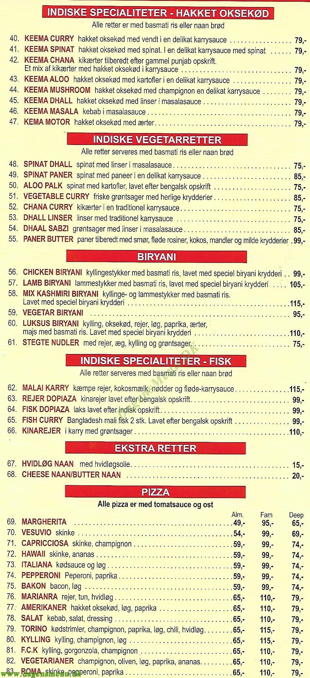 Delicasa - Indisk Pizza & Sandwichbar - Menukort