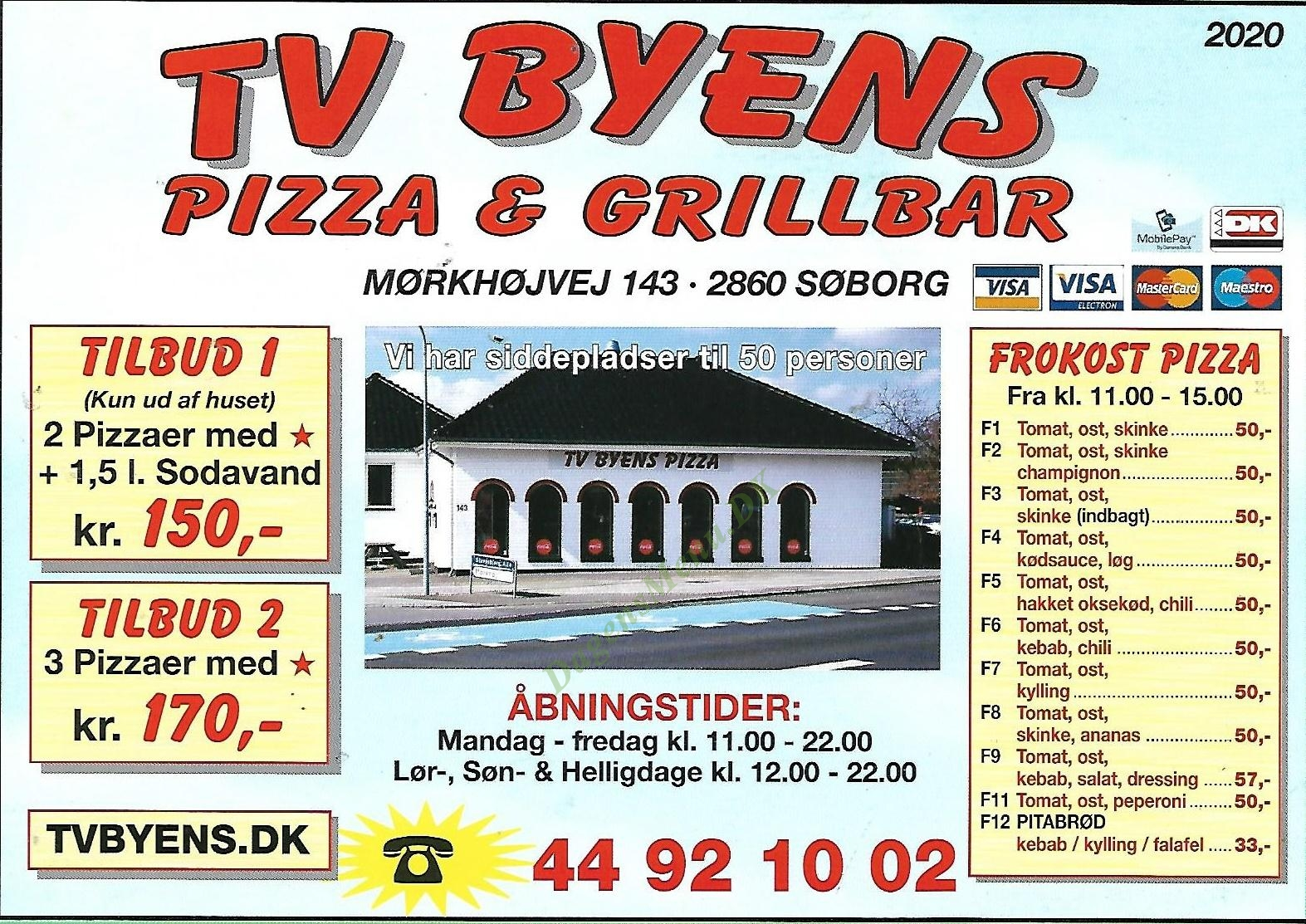 Tv-byens Pizza Og Grillbar - Menukort