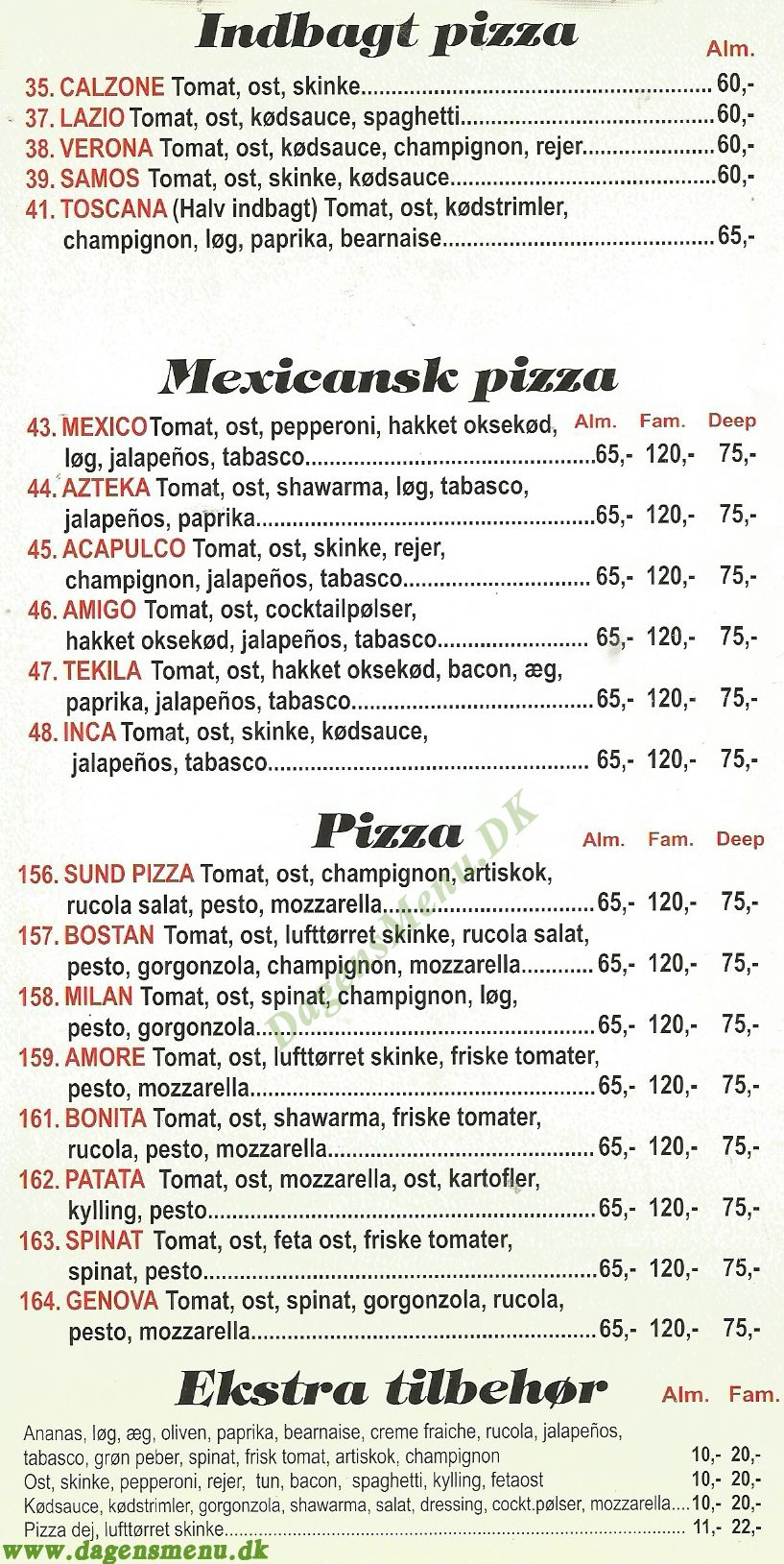 Picasso Pizza - Menukort