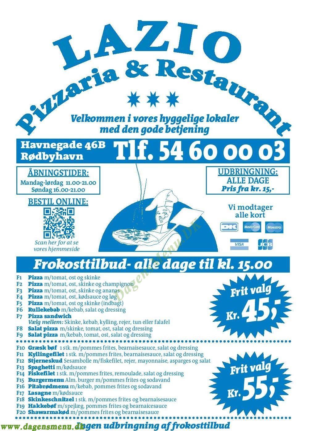 Lazio Pizzaria & Restaurant - Menukort
