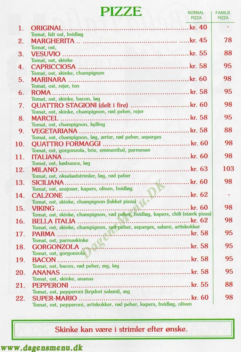 Nakskov - Pizza Bella Italia - Menukort
