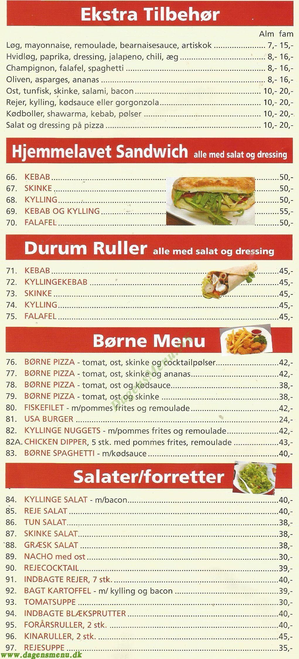 Hülya´s Pizza & Cafe - Menukort