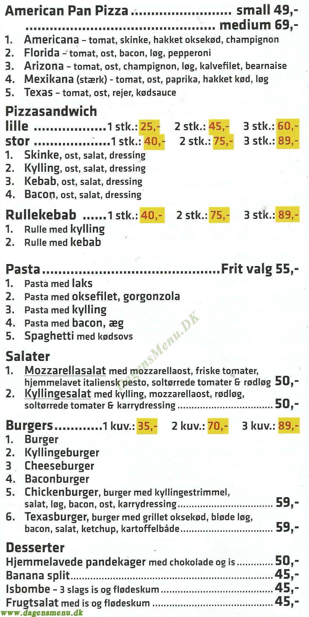 Sarajevo Restaurant - Menukort