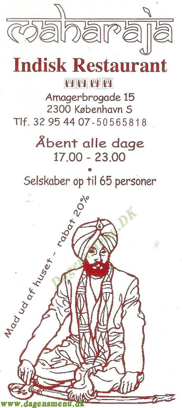 Maharaja Indisk Restaurant Amager - Menukort