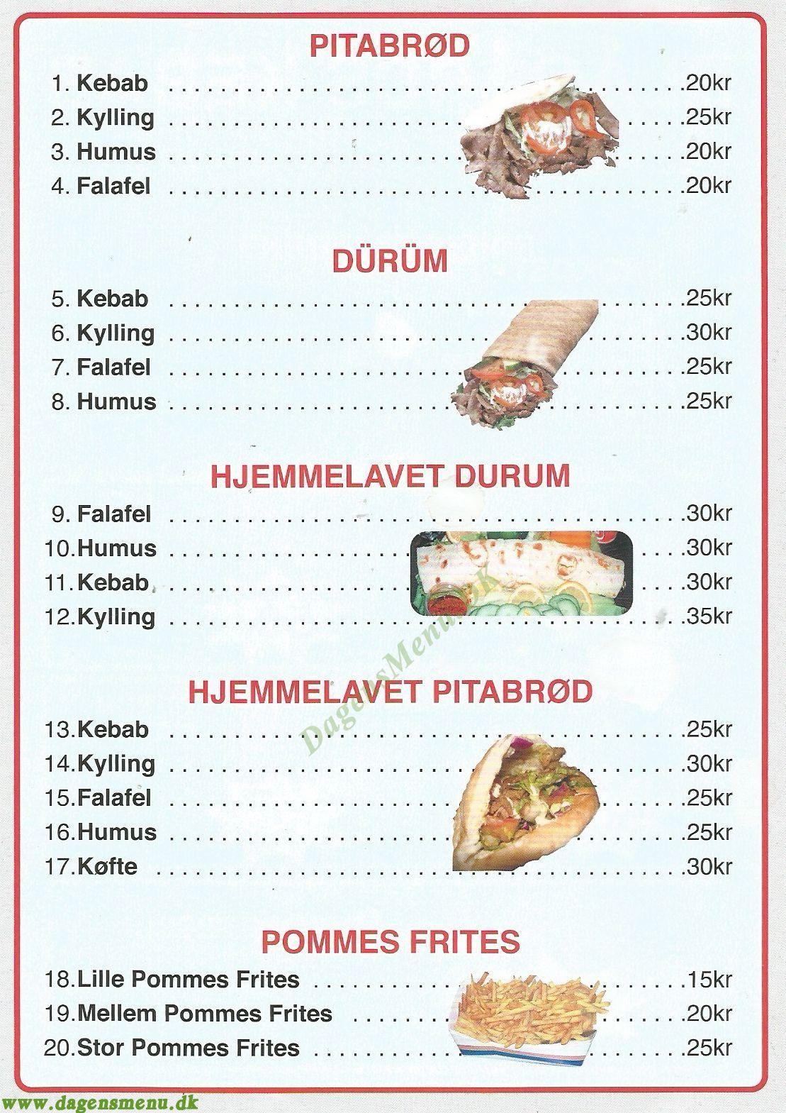 Blågårds Kebab - Menukort