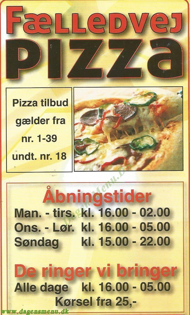 Fælledvej Pizza - Menukort