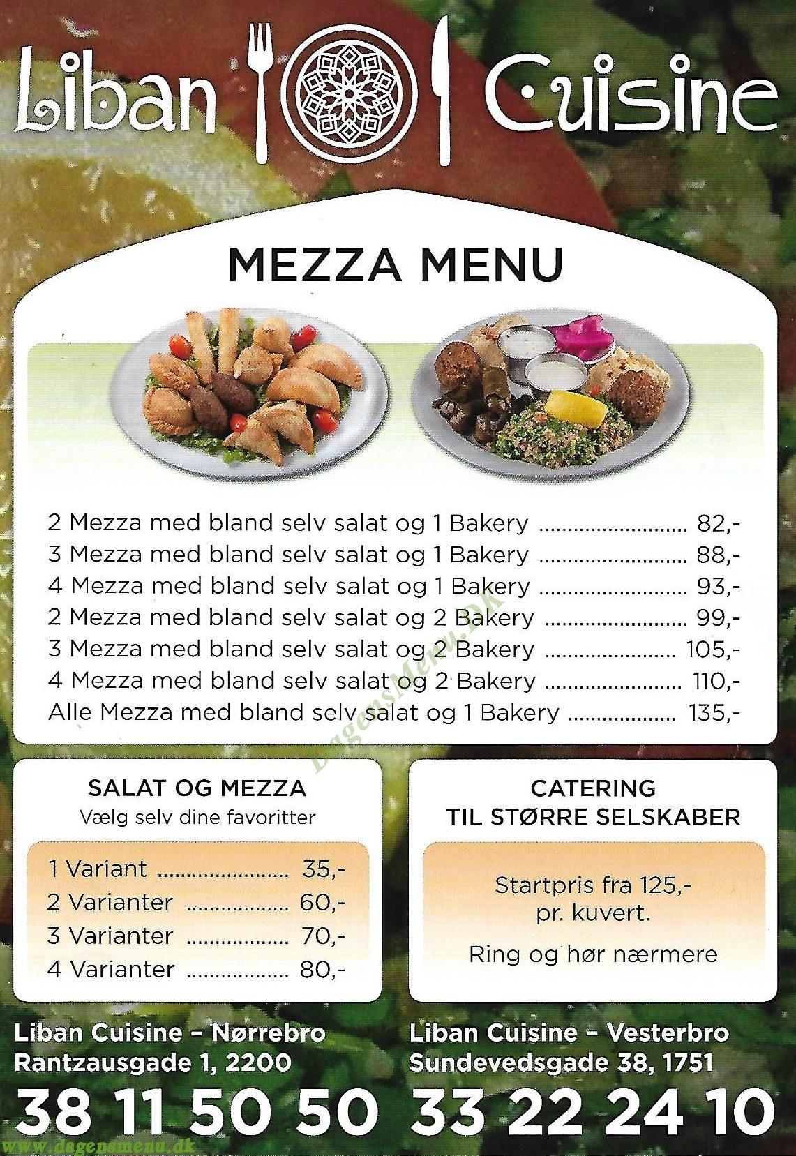 Liban Cuisine Nørrebro - Menukort