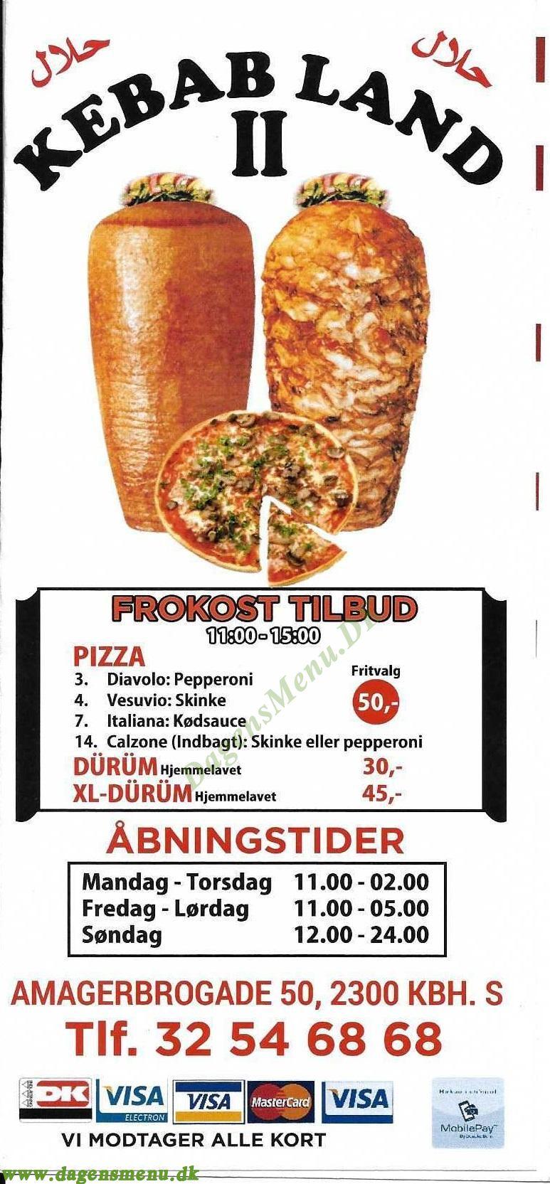Kebab Land 2 - Menukort