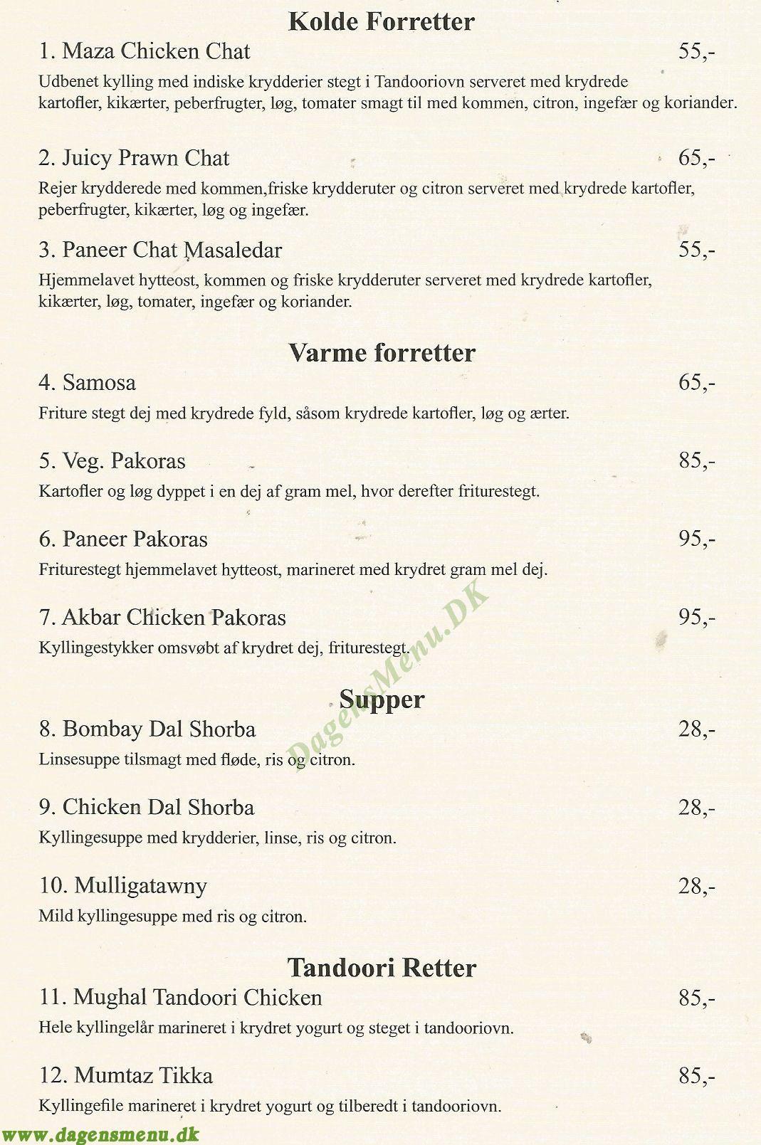 Amager Deep Indisk Restaurant - Menukort