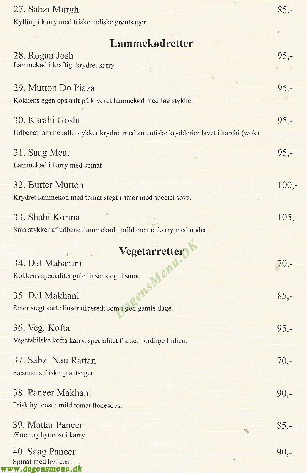 Deep Indisk Restaurant - Menukort