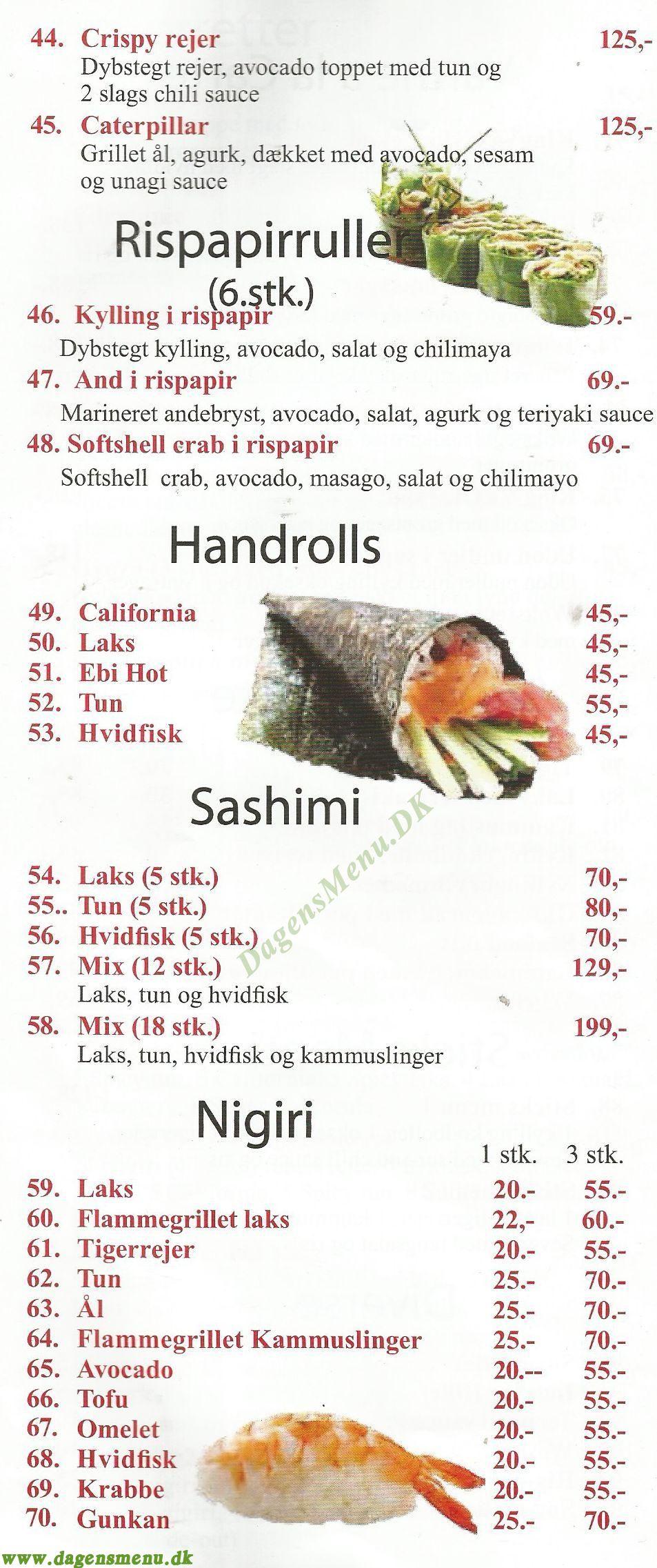 Amager Running Sushi King Ya - Menukort