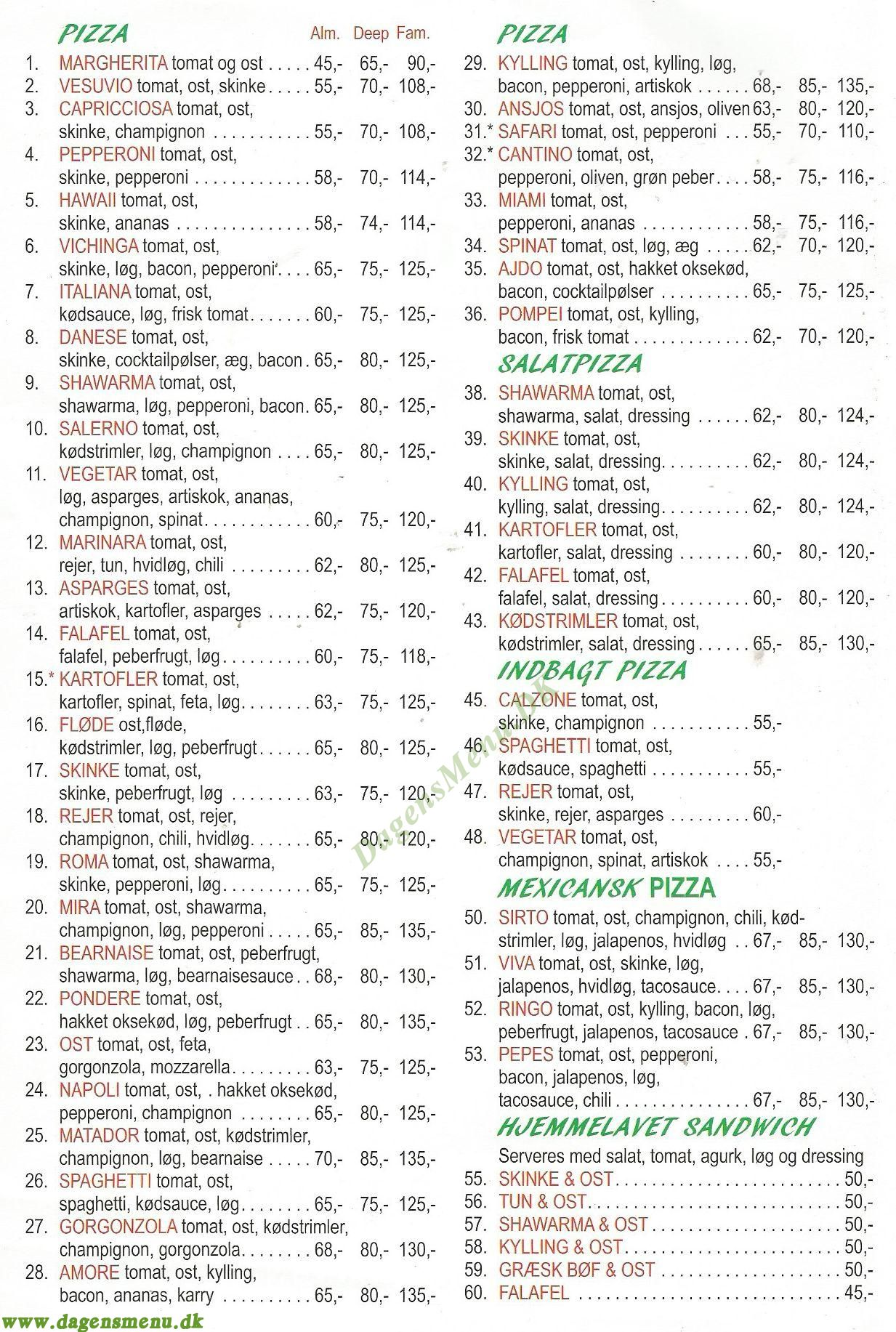 Pizza Mira - Menukort