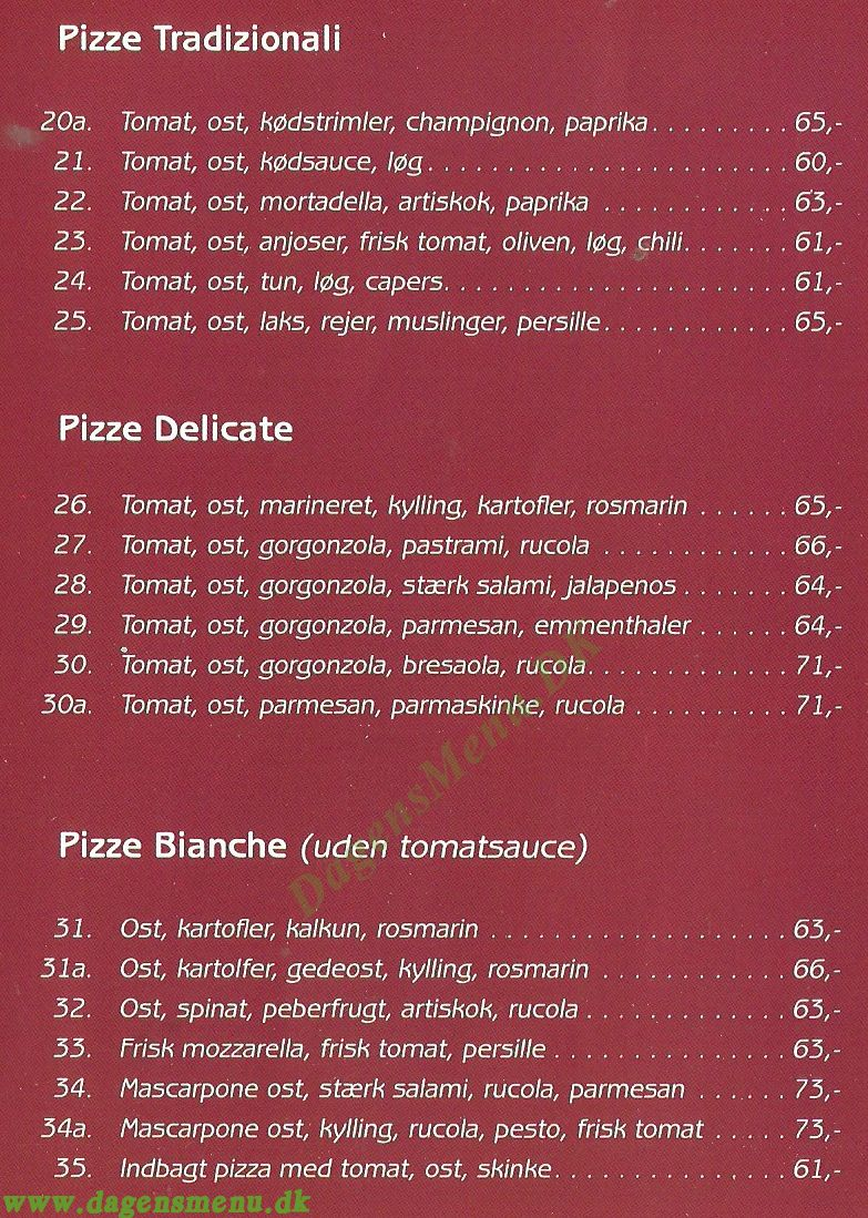 Cavallino Pizzeria & Sandwich - Menukort