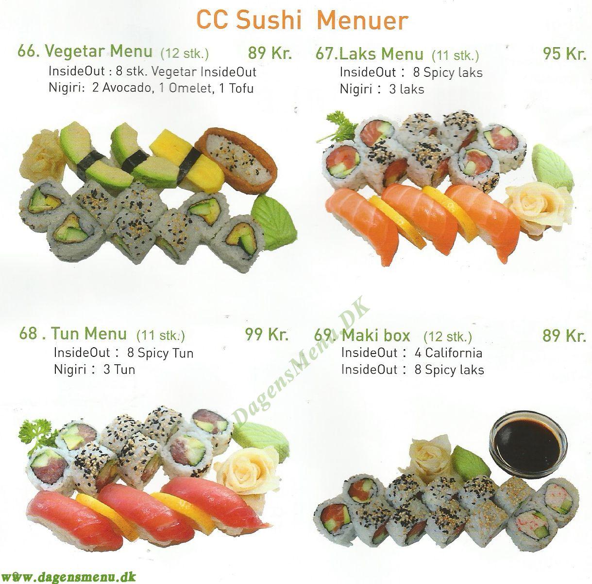 CC Restaurant, Sushi & Wok - Menukort