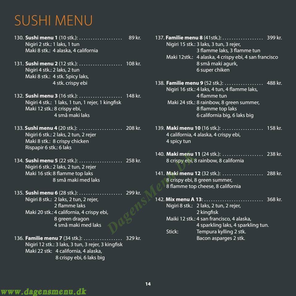 Pin Sushi - Menukort