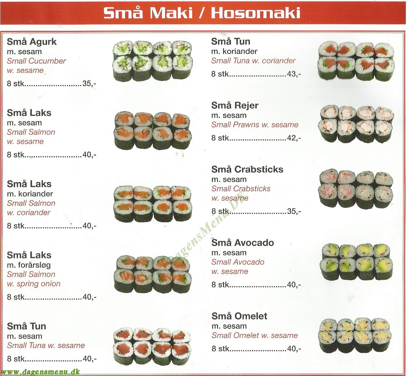 sushi nørregade menu