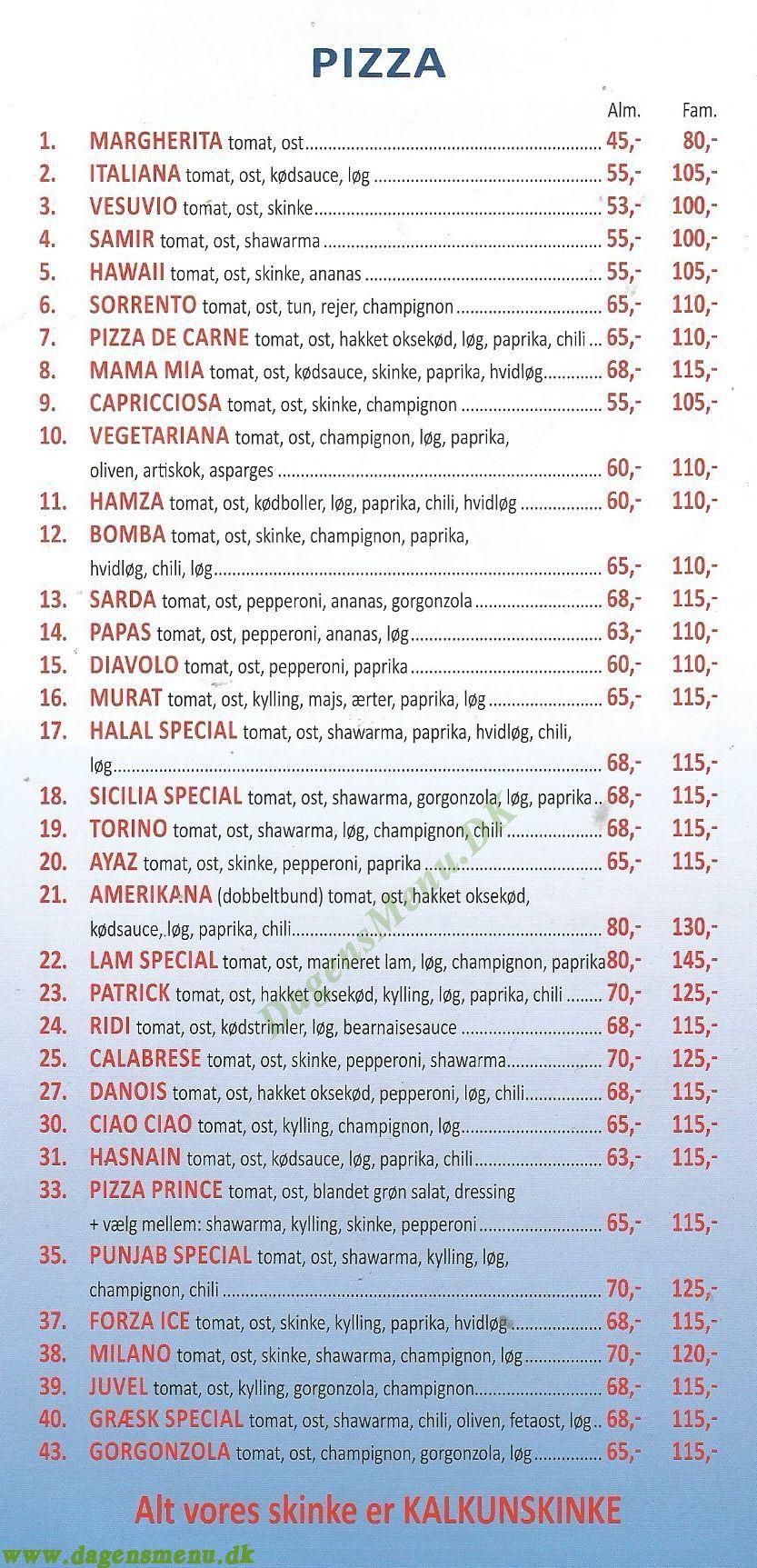 Sicilia Pizzaria - Menukort