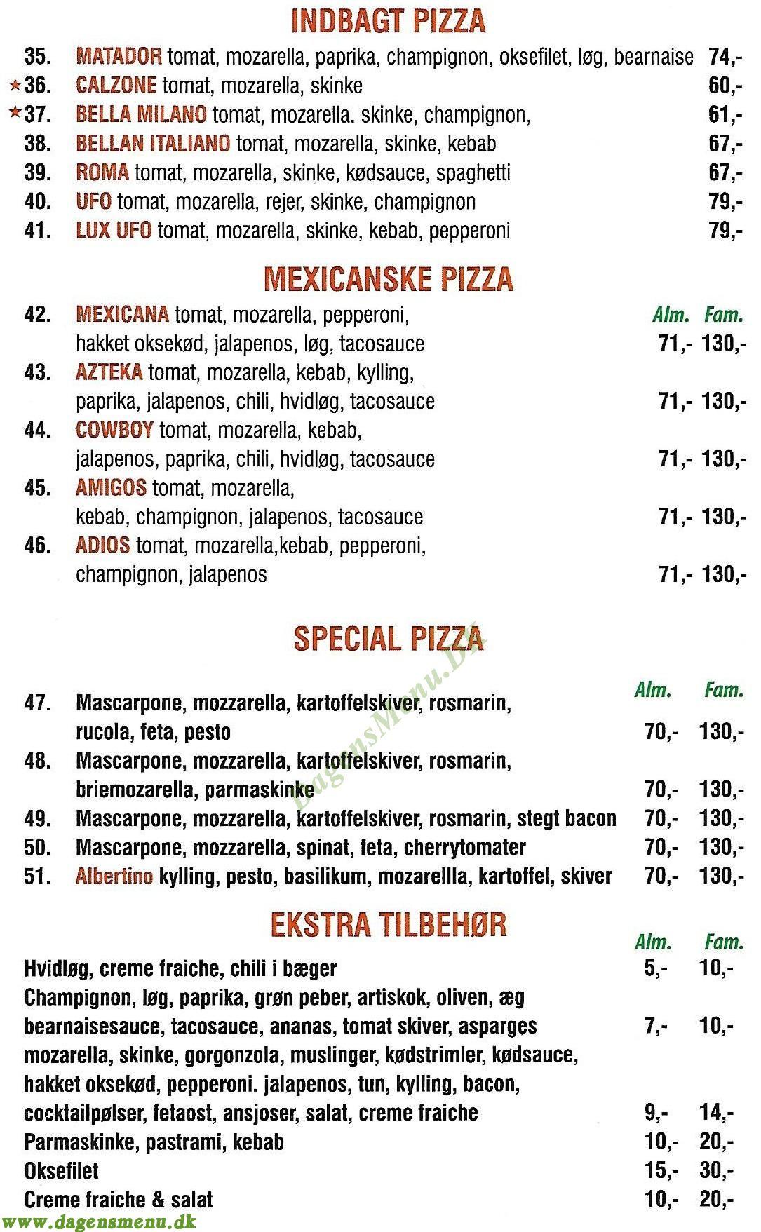 Dogan Pizza Østerbro - Menukort
