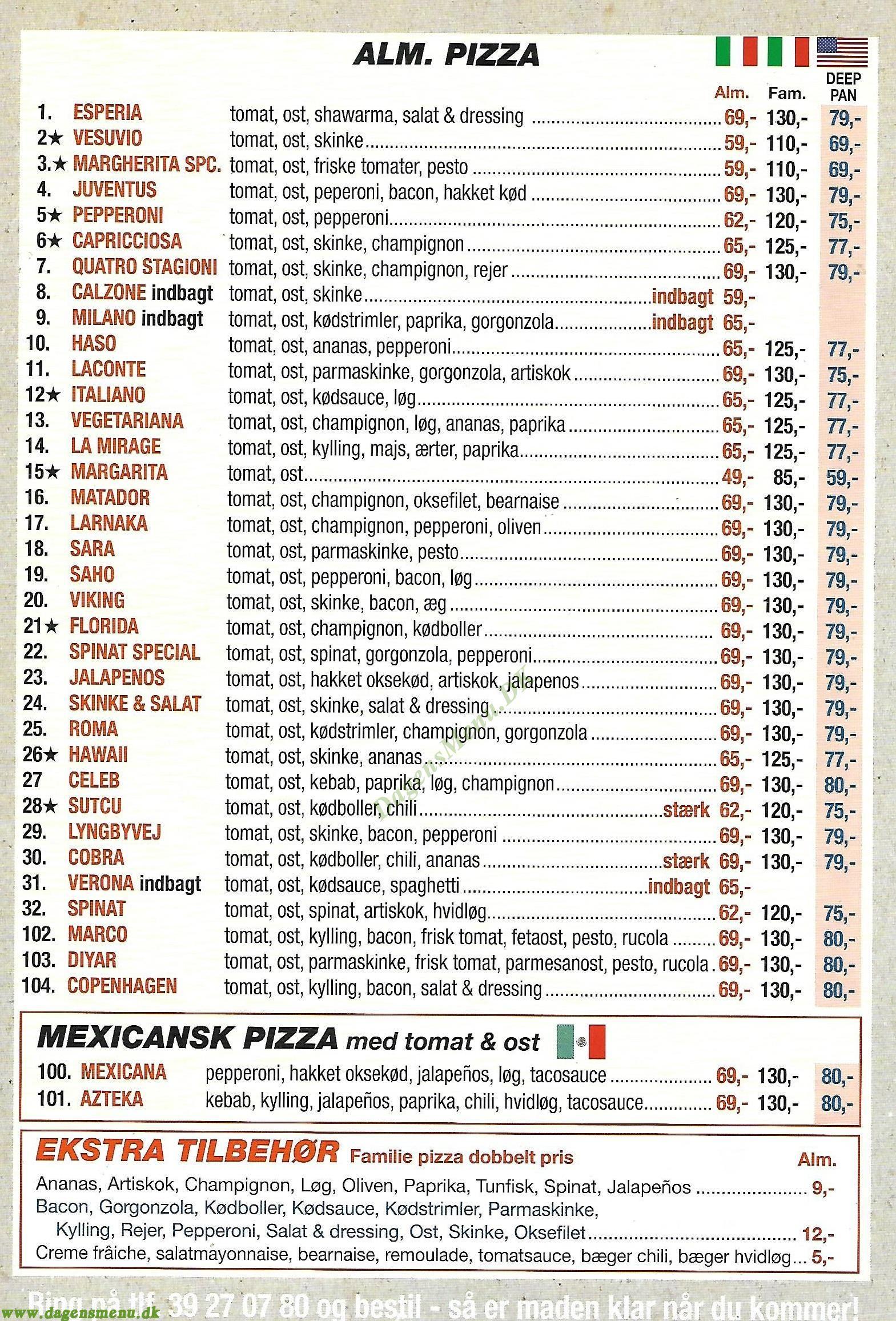 Esperia pizza Lyngbyvej - Menukort