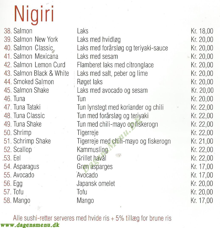 Go Away hot pot og sushi - Menukort