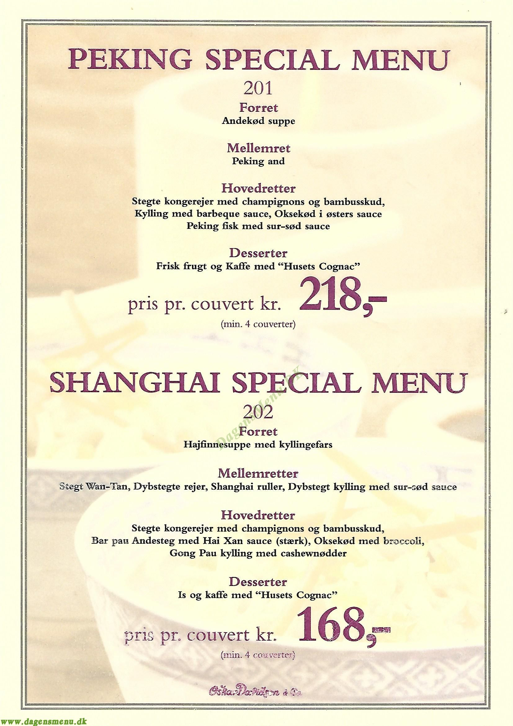 Restaurant Wan Hao - Menukort