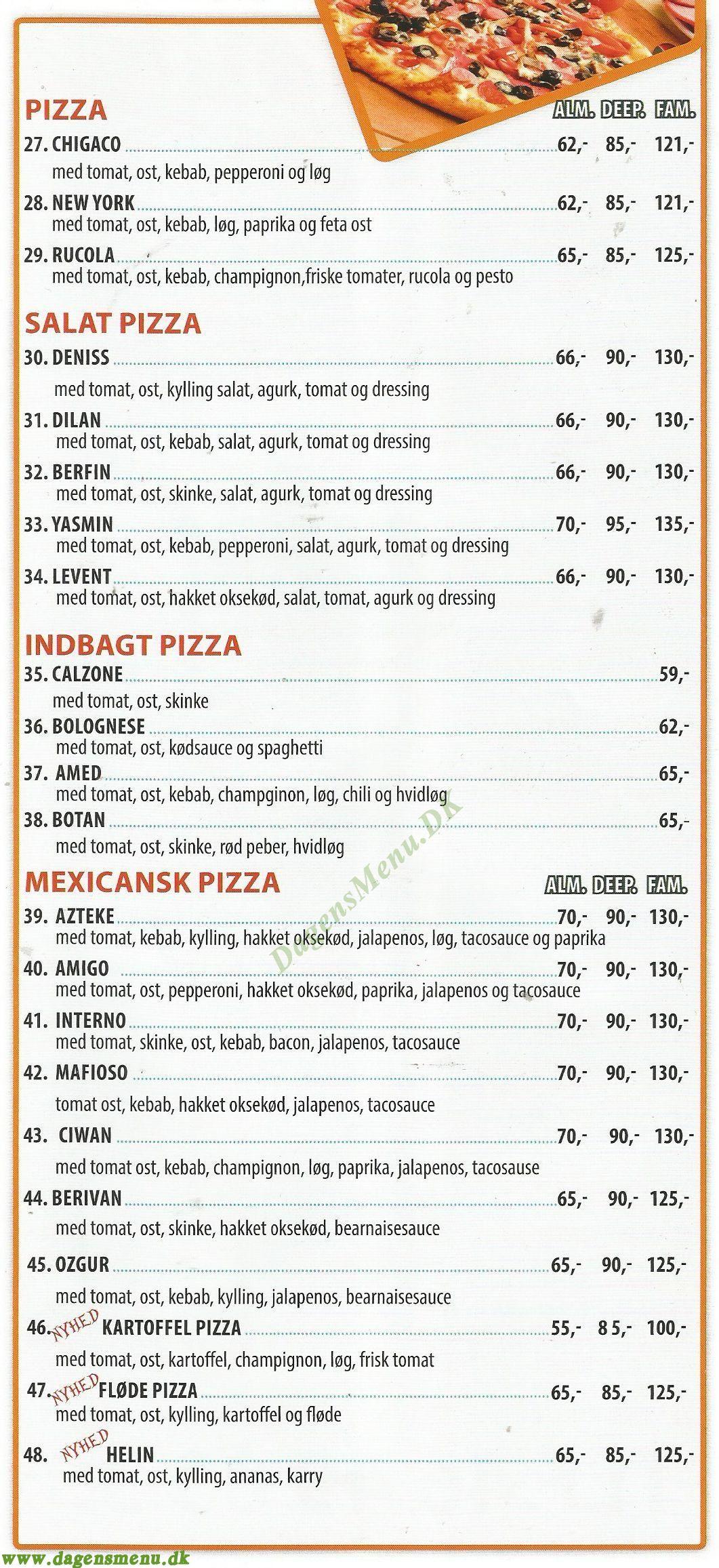 Osted Pizza Kebab House - Menukort