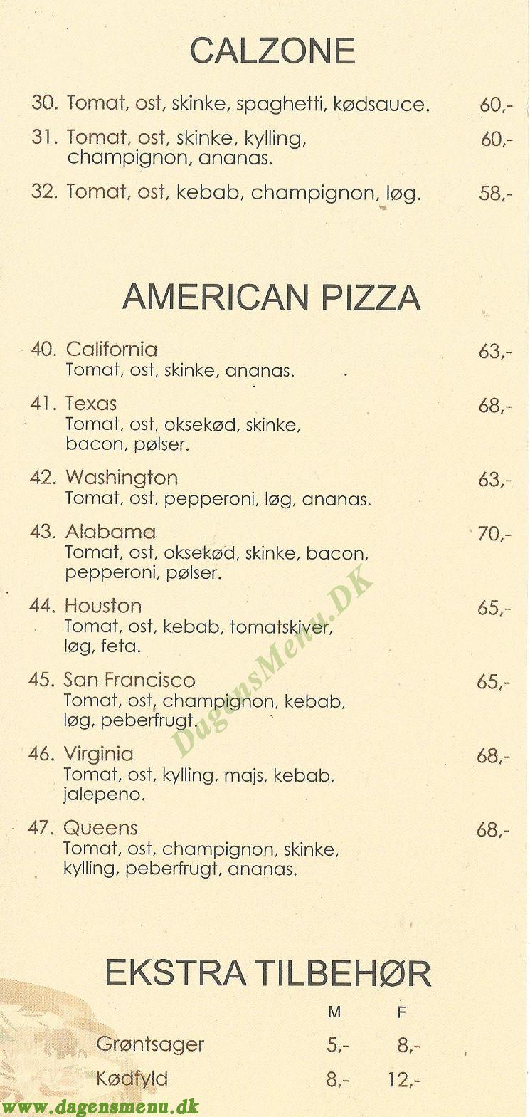 Uni Pizza - Menukort