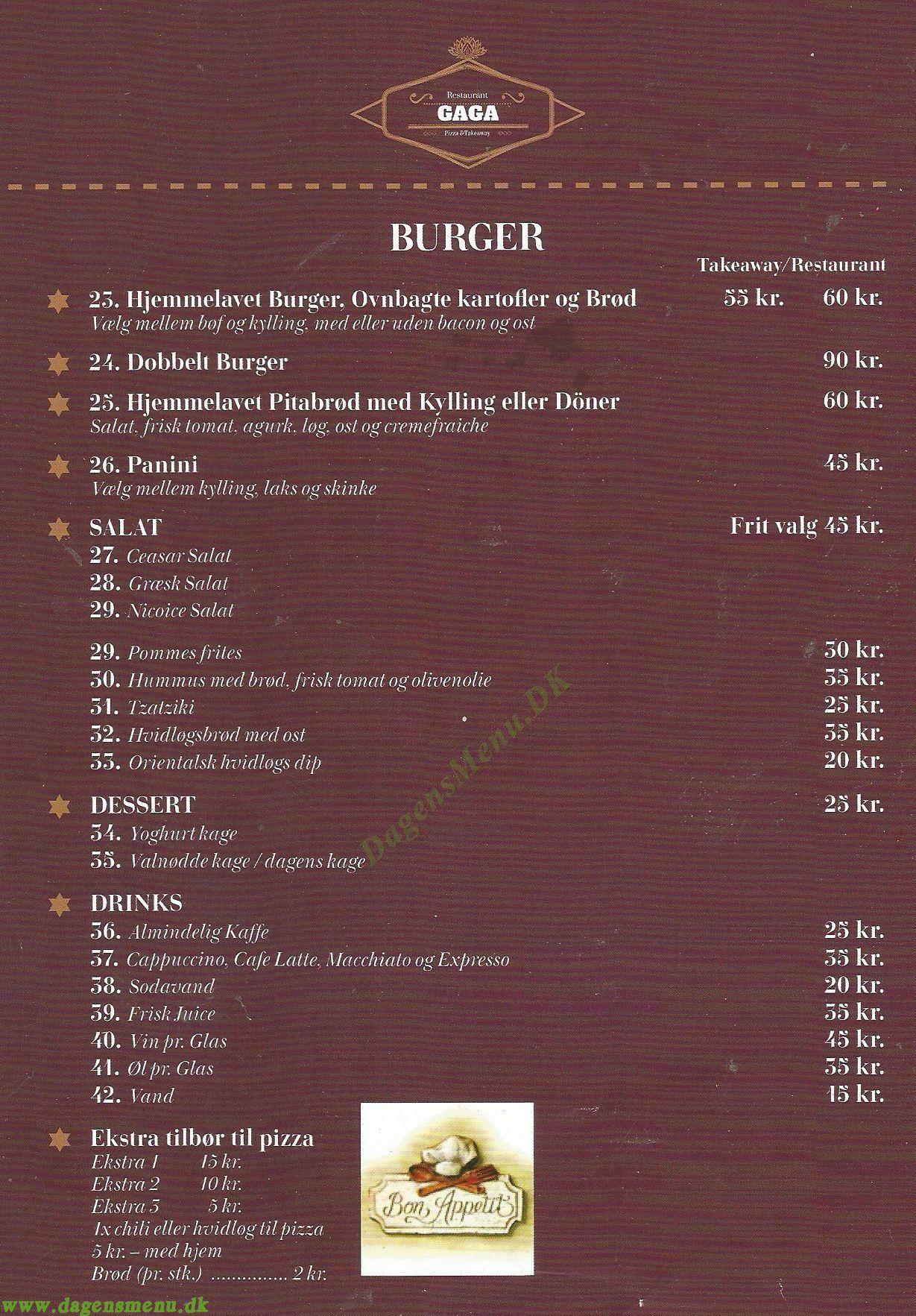 Gaga Restaurant & Pizza - Menukort